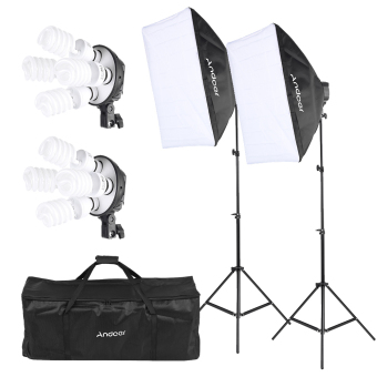 Andoer Studio Photo Lighting Kit with 2 * Softbox / 2 * 4in1 Bulb Socket / 8 * 45W Bulb / 2 * Light Stand / 1 * Carrying Bag Outdoorfree Price Philippines
