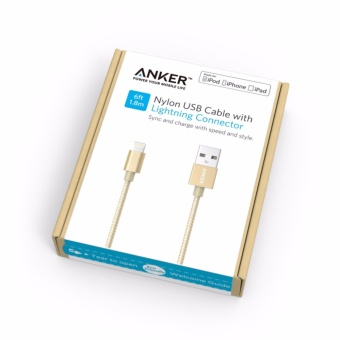 Anker A7114 Nylon Lightning To USB Cable MFI Certified Cable forIPhone 7 Fast Charging Cable 6ft/1.8m Pink Color A7114 for IphoneIpad - intl - 5