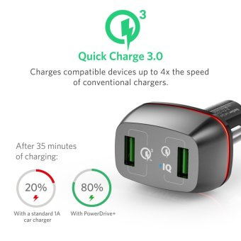 Anker Quick Charge 3.0 42W Dual USB Car Charger, PowerDrive+ 2 for Galaxy S7 and PowerIQ for iPhone 7 / 6s - intl