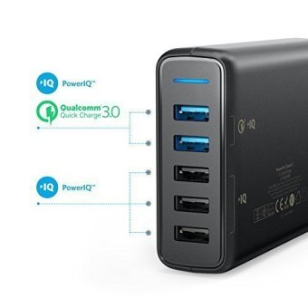 Anker Quick Charge 3.0 63W 5-Port USB Wall Charger PowerPort Speed 5 for Galaxy S7 Edge / Plus,PowerIQ for iPhone 7 / 6s / Plus - intl