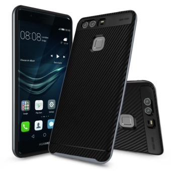 Anti-scratch Bumper + TPU Shockproof Carbon Fiber Case Cover ForHuawei P9 Grey - intl