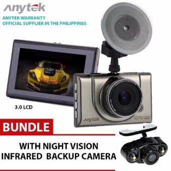 Anytek Philippines A100H Car DVR 2 DVRS With Rear View Camera Dual Lens Novatek 96655 Dash Cam Full HD 1080P+720P WDR Parking Video Recorder Night Vision 170 Degree with backup camera infrared night vision