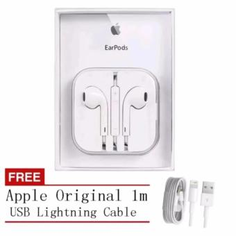 Apple original 109dB Earpods / Headset with Remote and Mic for iPhone / iPod Touch / iPad / iPad Mini (White) with Free Apple Original 1m USB Lightning Cable