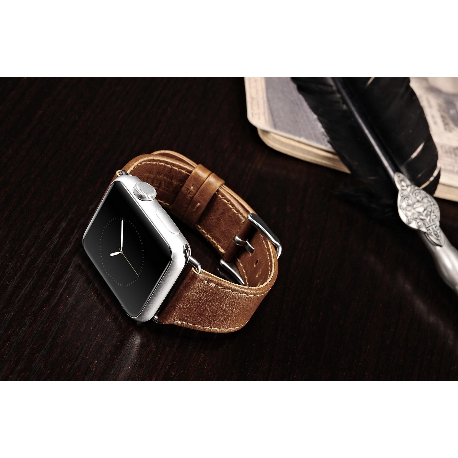 ... Apple Watch Band, 42mm iWatch Band Strap Premium Vintage Genuine Leather Replacement Watchband with Secure ...