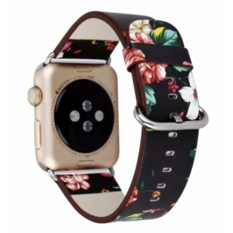 Apple Watch Band National Black White Floral Printed Leather Watch Band Strap for Apple Watch Flower Design Wrist Watch Bracelet for iwatch 42mm - intl