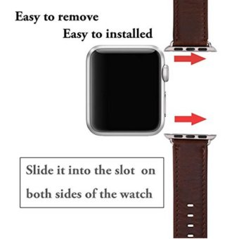 Apple Watch Band Series 1 Series 2,Premium Vintage Genuine LeatherWrist Strap Replacment with Classic Stainless Steel BuckleClasp,Crazy Horse Style for iwatch,42mm - intl - 4