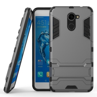 Armor Case For Huawei Y7 Prime Dual Layer Shockproof Stand Protective Cover Grey