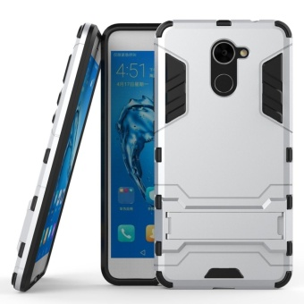 Armor Case For Huawei Y7 Prime Dual Layer Shockproof StandProtective Cover Silver