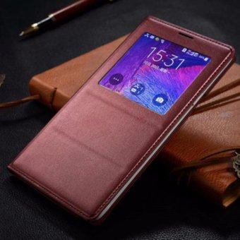 Asuwish Flip Cover Smart View Auto Sleep Function With Chip PU Leather Phone Case For Samsung Galaxy Note 4 Note4 N910 N910F - intl