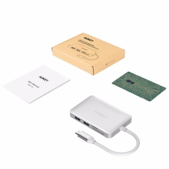 Aukey CB-C49 5GHz USB 3.0 Type-C Hub to HDMI Adapter Cable for Macbook Pro 12inch 5 Ports TF/ SD Card Reader - intl - 4