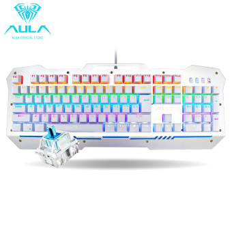 AULA OFFICIAL F2009 Mechanical Gaming Keyboard 104Keys Multicolors Backlit(Silver)