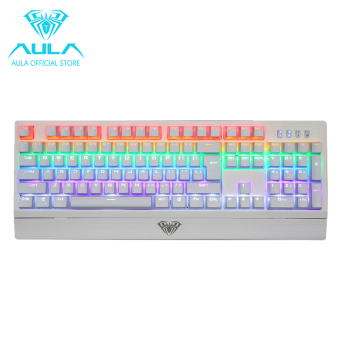 AULA OFFICIAL Wings of Liberty Mechanical Gaming Keyboard 104keys Multicolors LED Backlit(White)