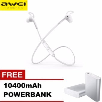 Awei A610BL Bluetooth 4.0 Sports Stereo Sound Earphone withBuilt-in Microphone (White) with 10400mAh Power Bank Price Philippines
