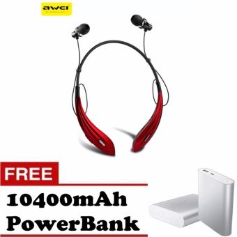 Awei A810BL Wireless Bluetooth 4.0 Headphones Headset In-Ear StereoSport Earphone with Microphone with Free 10400mAh Power Bank (Red) Price Philippines