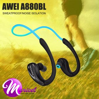 Awei A880BL Neckband NFC Bluetooth Noise-Isolation Sweat-Proof Ergonomic In-Ear Headset for Smartphones IOS iPhone (Blue/Black)