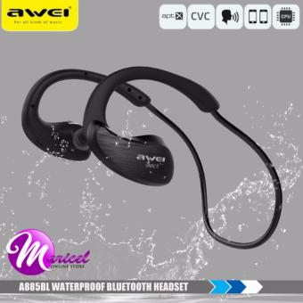 Awei A885BL NFC HiFI IPX4 Waterproof Sporty Bluetooth Headset with Mic for IOS and Smartphones (Black)