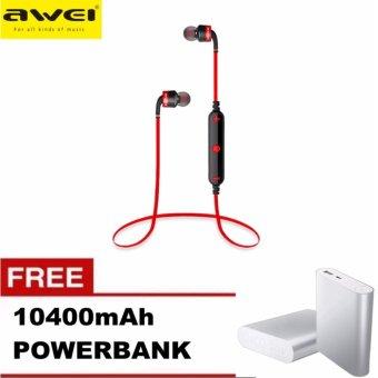 AWEI A960BL Noice Cancelling Bluetooth In-Ear Headphone Earphonewith Mic with Free 10400mAh Power Bank (Red) Price Philippines