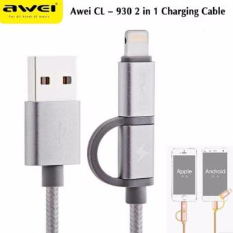 Awei CL-930 8-pin/Micro-USB to USB 2.0 1M Data Sync and Fast-ChargeCable (Silver)