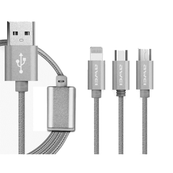Awei CL-970 1m 3-in-1 Fast Multi Charging Cable (Gray)
