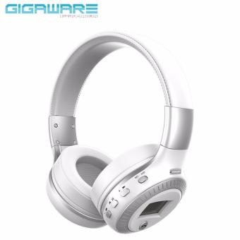 B19 LED Display Screen Wireless Bluetooth Headset Stereo Handsfreewith Mic FM Radio TF Card Slot for Computer PC Smartphone(White)
