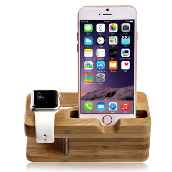 Bamboo Wood For Apple Watch iWatch iphone Stand Charging StationBracket - 2