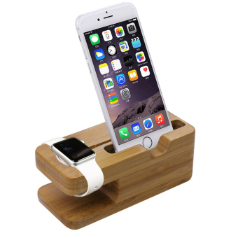 Bamboo Wood For Apple Watch iWatch iphone Stand Charging StationBracket - 3