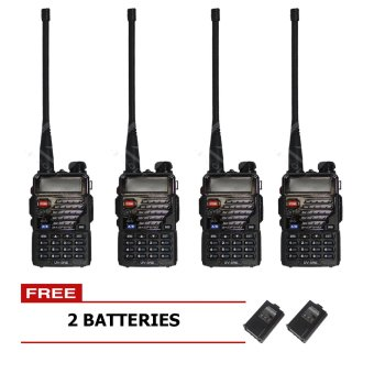 Baofeng / Pofung UV5RE VHF/UHF Dual Band Two-Way Radio Set of 4 (Black) with Free 2 Extra Batteries