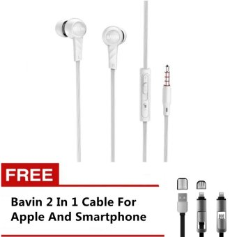 Bavin-118 102Db Motor-Type Headset For Apple And Android Phone(White) With Free Bavin 2-In-1 Cable For Apple/Smartphone