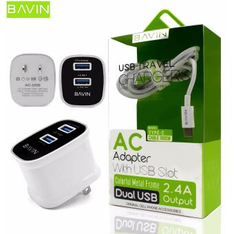 Bavin 2.4A Type C Dual USB Fast Charger High Efficiency Original Quick Charging Travel Adapter