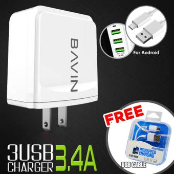 Bavin 3-Ports USB Fast Charger 3.4A +FREE Bavin USB Data Cable Price Philippines