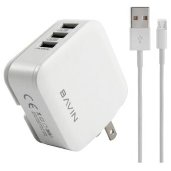 Bavin AC221 3-Ports 3.1A USB Fast Charger Output With Data CableFor Smart Phone
