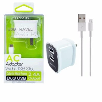 Bavin Dual USB Slot 2.4A Quick Charger Travel Adapter for Android