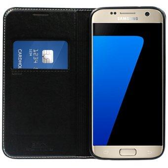 Bavin Leather Flip Cover Case for Samsung S7 (Black) - 3