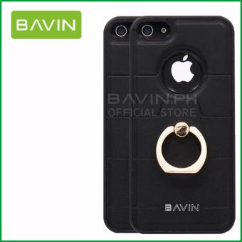 Bavin Leather/TPU Case with Ring Holder for iPhone 5/5s/5SE (Black) - 2
