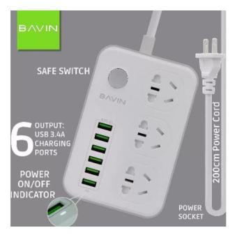 Bavin SC-3603 Multi-Function Charging HUB 6 USB Ports with 3 Power Socket - 2