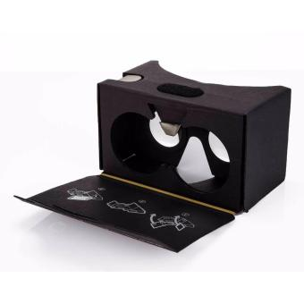 Black Google Cardboard Version 2.0 55 mm Large Lens Sweat Resistantwith Headstrap Premium Edition Virtual Reality 3D Glasses
