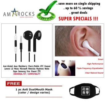 Black Stereo Earphone Smart Power Equalization with Mic for AcerPhone (All Model Compatible)