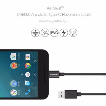 BlitzWolf 3.33ft/1m3 A USB Type-C Reversible Braided Data Cable forSmartphone (Black) - 3