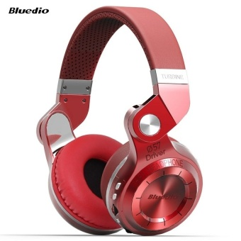 Bluedio T2+ Foldable Style Bluetooth V4.1 +EDR Wireless Stereo Headset Support TF Card with Mic (Red) - intl