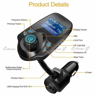 Bluetooth Car Kit MP3 Player Hands-free Call Wireless FMTransmitter Car charger Support Micro TF Card For iPhone forSamsung - intl - 2