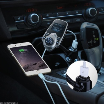 Bluetooth Car Kit MP3 Player Hands-free Call Wireless FMTransmitter Car charger Support Micro TF Card For iPhone forSamsung - intl - 5