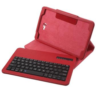 Bluetooth Keyboard Litchi Leather Stand Cover for Samsung Galaxy Tab A 10.1 (2016) - Red - intl