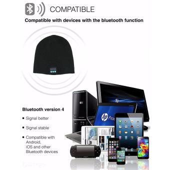 Bluetooth Wireless bonnet Music with Stereo Speakerphone HeadsetEarphone Speaker Mic Phone Call-Dark Grey - 2