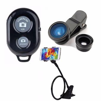 Bluetooth Wireless Remote Control Camera Shutter Release for iOS /Android Phones(black) with Camera Lens Color May Vary with LazypodColor May Vary