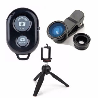 Bluetooth Wireless Remote Control Camera Shutter Release for iOS /Android Phones(black)with Camera Lens Color May Vary with 228Yunteng Tripod
