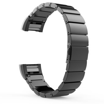 Blusky Universal Stainless Steel Watch Band Strap Bracelet +Connector for 2016 Fitbit Charge 2, Black - intl