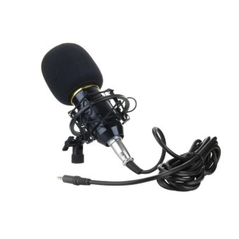 BM-700 Condenser Sound Recording Microphone With Shock Mount forRadio Broadcasting Studio Voice Recording (Black)
