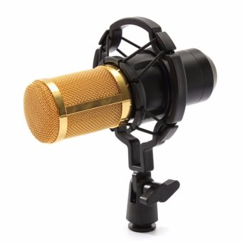 BM-800 Condenser Sound Recording Microphone with Shock Mount for Radio Braodcasting (Black)