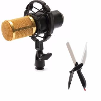 BM-800 Condenser Sound Recording Microphone with Shock Mount for Radio Braodcasting (Black) WITH Clever Cutter 2-in-1 Knife & Cutting Board Scissors