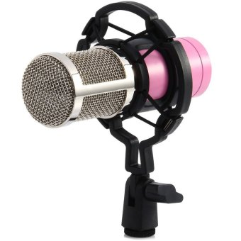 BM-800 Condenser Sound Recording Microphone with Shock Mount for Radio Braodcasting (Pink)